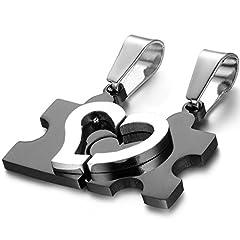 Idea Regalo - OIDEA Collana per Coppia Lovers Collana in Acciaio Inox Pendente Puzzle Cuore Regalo per Amante Nero(1 Coppia)