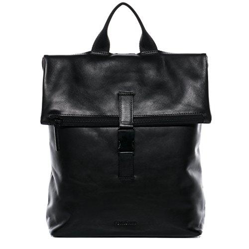 FEYNSINN Rucksack Leder MATS groß Backpack Tagesrucksack Kurierrucksack Unisex Lederrucksack mit gepolstertem Gerätefach bis 15,4 Zoll Damen Herren schwarz