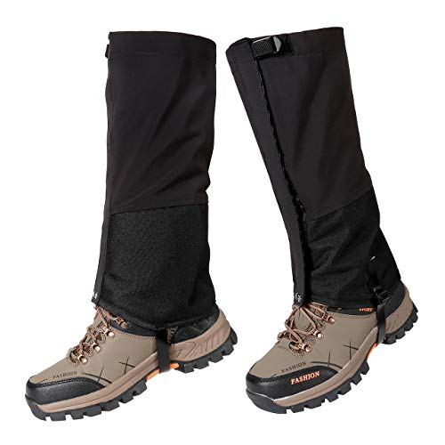 ACBungji Outdoor Wasserdichte Gamaschen Gaiters Outdoor-Hosen zum Wandern Klettern Schneewandern Wandernde Gehende Kletternde Jagd-Schnee Legging Gamaschen Unisex Schwarz M (1 Paar)