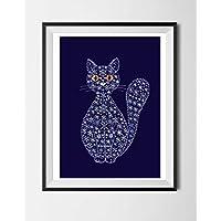 Katze, Poster ohne Rahmen, Winterkatze, Schneeflocken