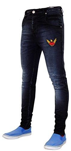 Neue Herren Designer Saft 5 Pocket westlichen dünnen Stretch Jeans Baumwolle Denim Black
