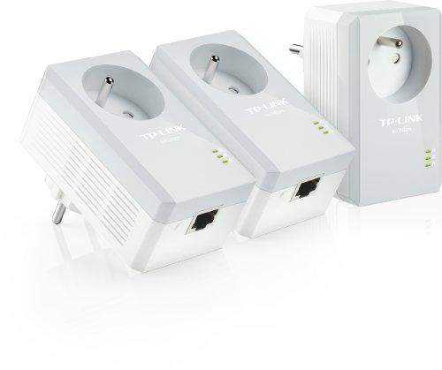 TP-Link CPL AV500 (Débit 500 Mbps), 1 Port Fast Ethernet, Prise Intégrée Version Française, Pack de 3 CPL (TL-PA4015PT KIT) Blanc