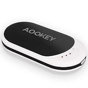 AOOKEY Handwärmer Wiederaufladbare USB 5200mAh Powerbank Elektrische Taschenwärmer Wiederverwendbares Tragbares Ladegerät Handheizung Doppelte Heizung Handwärmer Geschenke für Männer Frauen