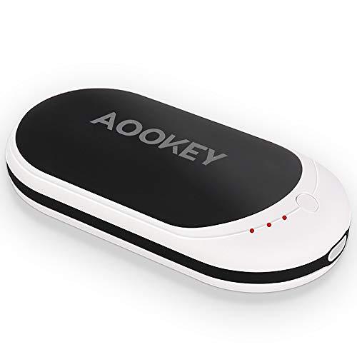 AOOKEY Chauffe-Mains Rechargeable USB 5200mAh Power Bank Batterie Externe Chaufferette Main Électrique Poche Réchauffeur de Mains Portable Cadeaux pour Hommes Femmes en Hiver Froid - Noir