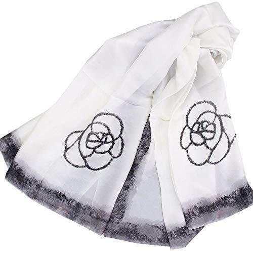 Kelry Frauen Langer Weicher Chiffon Druckschal Neue Mode Sonnencreme Schal Damenschal Tuch (Weiß, 180x90 cm / 70,8 x 40,4