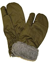 Genuine CZECH Army Issue M55 Combat Winter Faux Fur Lined Mittens With Trigger Finger - Olive Green