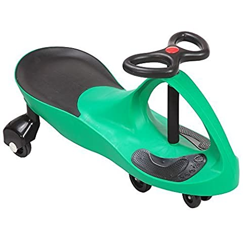 SWING CAR RIDE ON SWIVEL SCOOTER CHILDRENS TOY KIDS WIGGLE GYRO TWIST & GO XMAS GIFT (Green)