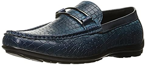 Stacy Adams Men's Lanzo Moc Toe Bit Slip-On Loafer, Blue, 10.5 M US
