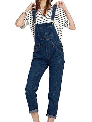BIUBIONG Mujer Mono Pantalones Vaqueros con Peto Tirante Larga con Bosillo en el Pecho de Casual Moda, EU 36-46