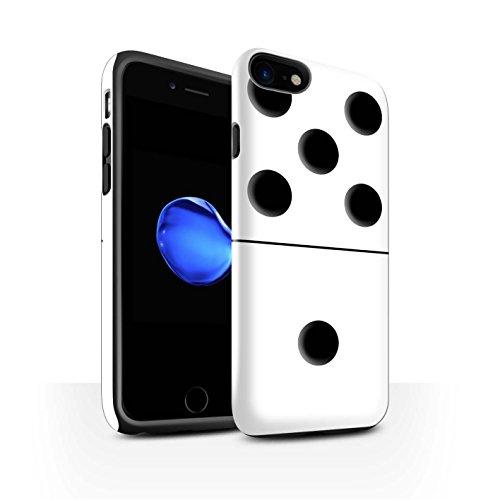 STUFF4 Glanz Harten Stoßfest Hülle / Case für Apple iPhone 8 / Schwarz Kachel 5/4 Muster / Domino/Dominos Kollektion Weiß Kachel 5/1