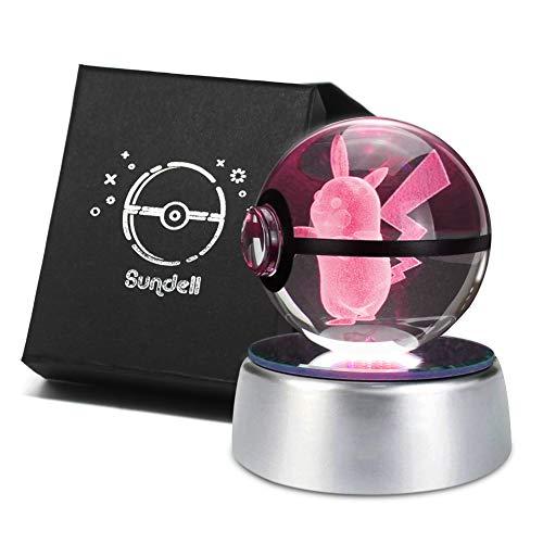 für Kinder, Geschenkideen für Geburtstag, 3D Crystal Ball mit Verfärbungsbasis, Geschenk Personalisiert für Junge und Mädchen, Geschenk Boxen Set (Pikachu) ()