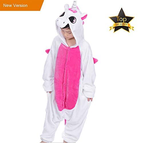 Pyjamas Einteiler Junge Mädchen Kinder Einhorn Tier Kostüm für Fasching Halloween (L, Rosa)