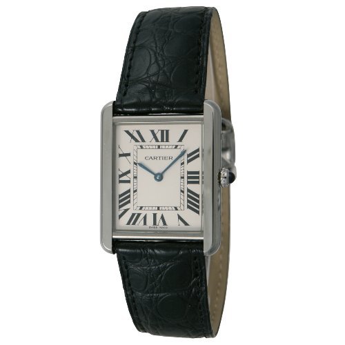 Cartier Men's Tank Solo Black Leather Band Steel Case Quartz Silver-Tone Dial Analog Watch W5200003
