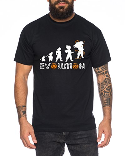 Super Son Goku Evolution Camiseta de hombre Goku Dragon Master Son Ball Vegeta Turtle Roshi Db, Farbe2:Negro;Größe2:XL