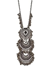 Total Fashion Silver Oxidize Antique Jaipuri Style Sin CND DBL Round Mirror Long Chain Necklace For Girls & Women.