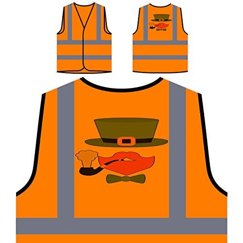 Green Hat Ingwer Bart Pfeife Personalisierte High Visibility Orange Sicherheitsjacke Weste m32vo