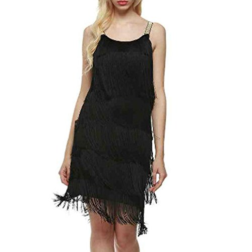 ung,Damen Kleid Retro 1920er Stil Flapper Kleider mit zwei Schichten Troddel V Ausschnitt Motto Party Kleider Damen Kostüm Kleid,Sexy Tassel Kleider (S, Schwarz) (Sexy Flapper Kleid)