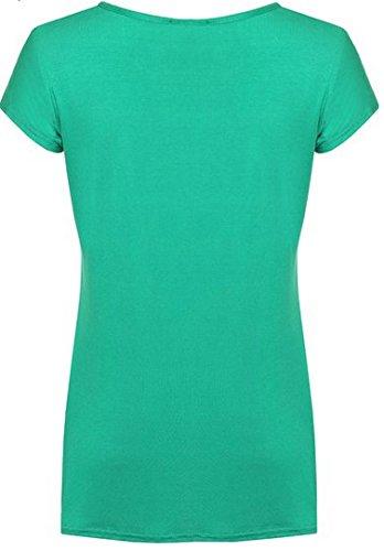 N01 Nouveau Femme Designer Grande Taille T-Shirt Manche Courte Haut Femme Vert Jade