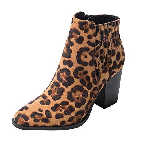 Luckycat Estampado De Leopardo Botines Mujer Planos Tacon Cuero Botas Chelsea Ancho Ante Piel Casual Zapatos Invierno Moda Ankle Boots Botines Mujer Invierno Botas Nieve Zapatillas Cremallera 7.5CM