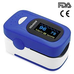 JUMPER 500A Digitales Pulsoximeter, Finger Pulsoximeter, Sauerstoffsättigung und Pulsfrequenzmessgerät mit Lanyard, AAA-Batterien, Silikonhülle
