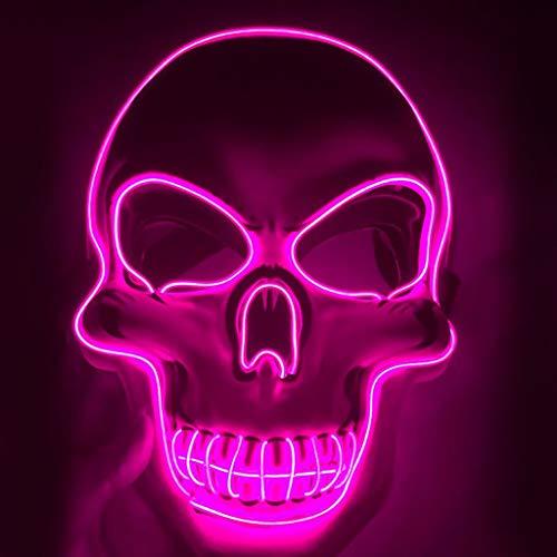Clown Kostüm Rosa - TIREOW Halloween LED leuchten Schädel Maske mit 3 Beleuchtung Modi für Festival Cospla -Kostüm Maskerade Partys Vollgesichts Masken (Rosa)