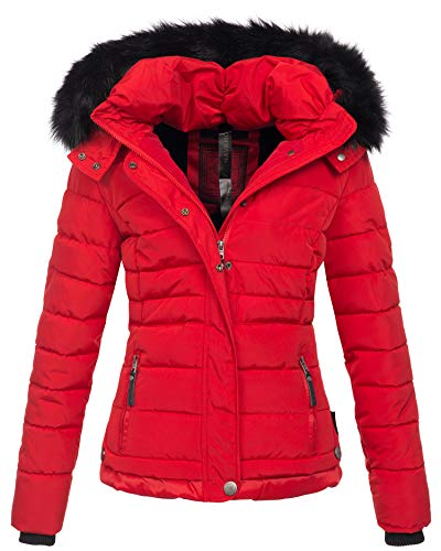 Navahoo warme Damen Winter Jacke Parka Mantel Stepp Kurzjacke gefüttert B301 (M, Rot)