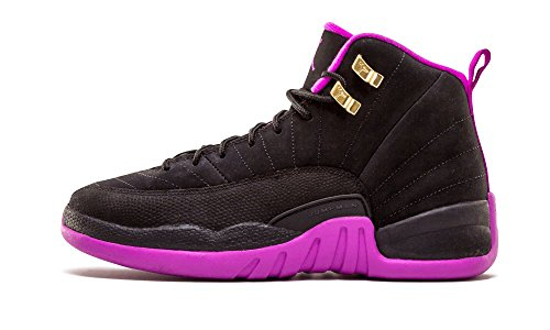 Nike Air Jordan 12 Retro Gg, espadrilles de basket-ball femme Noir - Negro (Negro (Black / Mtlc Gold Star-Hypr Vlt))