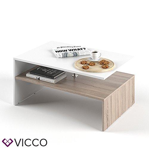 VICCO Couchtisch AMATO 90 x 60 cm Weiß / Eiche Sonoma - Wohnzimmertisch Beistellti...