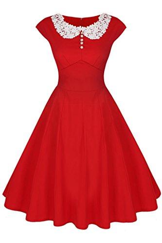 ACEVOG Collier plissé ronde florale Robe sans manches pour Femmes rouge XL