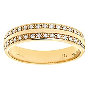 Naava 0.2 ct I Diamond Pave Setting Eternity Ring in 9 ct Yellow Gold
