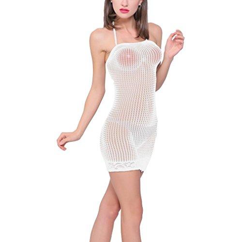 s, Frauen Hollow Tight Mesh Kleid voller Rock Uniform T Art Sexy Dessous Hohlstrumpfhose Explosive Milch Perspektive Tasche Hüfte Rock Uniform T-Art Versuchung sexy Dessous (Weiß) (Voll Latex Body Kostüme)