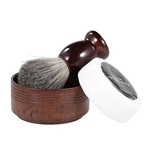 Anself 3 En 1 Ensemble de Rasoir pour Homme Shaving Badger Hair Brush + Soap Bowl + Savon Rasage Beard Shaving Kit