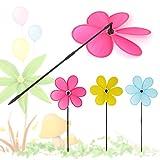 ECMQS 1 STÜCK Bunte Regenbogen Dazy Blume Spinner Wind Windmühle Kinder Spielzeug Garten Hof Outdoor Decor