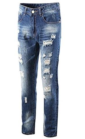Ghope Homme Jeans Slim Straight Stretch Déchiré Denim Pantalon Trou Biker Jeans Cargo