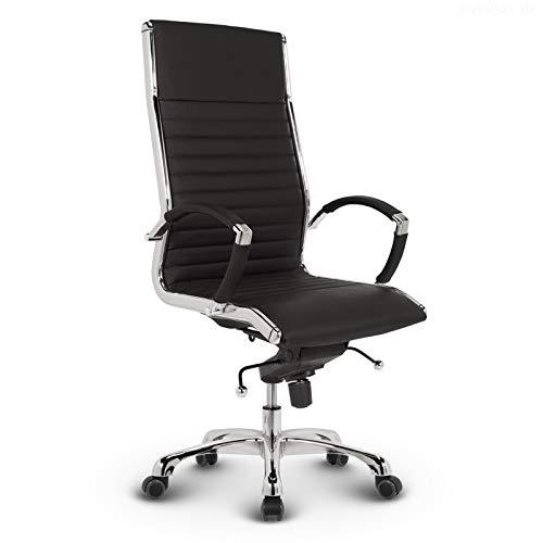 VERSEE Design Bürostuhl Chefsessel Montreal - Echt-Leder - schwarz - Drehstuhl, Bürodrehstuhl, Schreibtischstuhl, Chefstuhl, Designklassiker, hochwertige Verarbeitung, Stuhl, 150 kg belastbarkeit