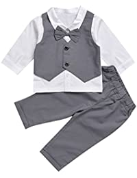 De feuilles Chic-Chic Kids Toddler Baby Boys Gentleman Tuxedo Suit Clothing Sets Bow Tie