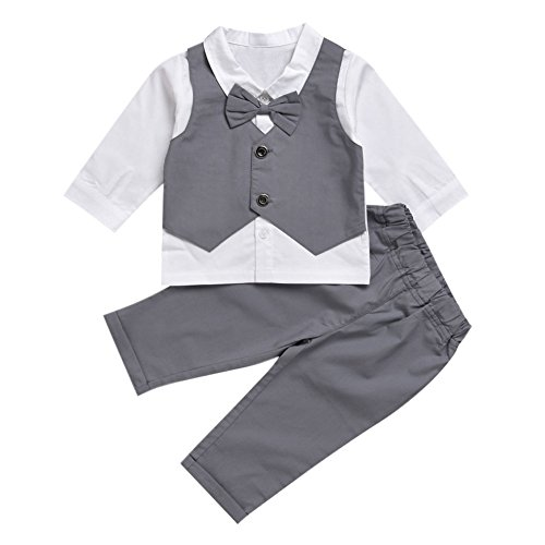 CHIC-CHIC Kids Toddler Baby Boys Gentleman Tuxedo Suit Clothing Sets Bow Tie Shirt +Long Pants Outfits (6-12 Months, Grey)