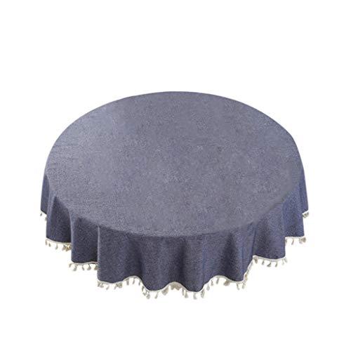 eliaSan 59 '' Round Tischdecke mit Quasten Baumwolle Leinen Quaste Tischdecke Staubdicht Tischdecke für Küche Esstisch Plaid Overlay