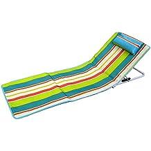 Hosa - Colchoneta de Playa con Respaldo Regulable y Cojín Reposacabezas - Tumbona Plegable para Piscina