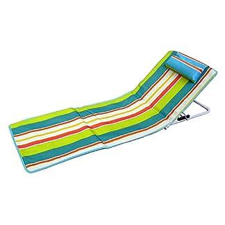 Hosa – Colchoneta de Playa con Respaldo Regulable y Cojín Reposacabezas – Tumbona Plegable para Piscina, con Almohada Acolchada y Bolsa de Transporte – Naranja