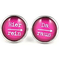 SCHMUCKZUCKER Damen Ohrstecker Spruch Motiv Hier rein da raus Modeschmuck Ohrringe silber-farben pink 14mm