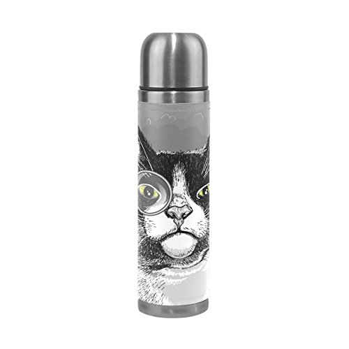 Isaoa 500 ml Boisson Bouteille d'eau en acier inoxydable Bouteille Portrait de chat Gris Isolation sous vide Thermos anti-fuites à double paroi isotherme pour l'intérieur Sports de plein air randonnée Course