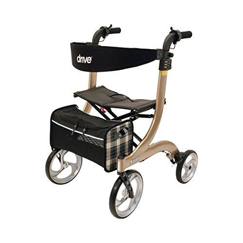 """DRIVE Rollator \""""Nitro Twist\"""", Gehhilfe Rollator mit Twist-Bremse Reflektoren Gepäcknetz & große Lenkräder, 70,5 x 60,5 x 85 - 98 cm"""