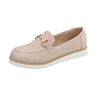 Ital-Design Mokassins Damen-Schuhe Moderne Halbschuhe Beige, Gr 40, A-185-