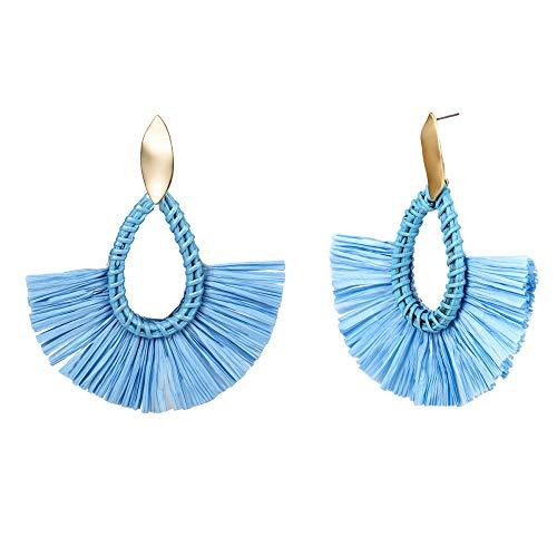 NIMUIL 1 Paare Quaste Ohrringe Böhmen Fan Form Ohrstecker Ohrringe für Damen Mädchen Party Böhmen Kleid Zubehör,Blue