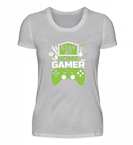 Maglietta Organica Da Donna Di Alta Qualità Per Shirtee - Rimani A Casa Con I Giocatori - Videogiochi Di Gioco Online Con Videogiochi Multigiocatore Online (chiazzato)