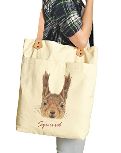 Vietsbay , Damen Tote-Tasche beige Badger Portrait Squirrel Portrait-1