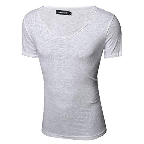 Honghu Herren Kurzarm Crewneck Casual T-Shirt Weiß