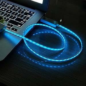 Case Square® LED Signal lumineux Câble de chargement et de données USB pour Samsung Galaxy S3/ S4/ Note 2/ Note 3 + Case Square® un nettoyant pour écran libre