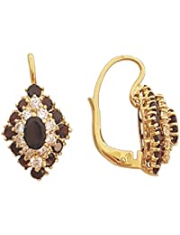Superstar Boucles d'Oreilles Femme en Or 18 carats Jaune avec Grenat, 6.3 Grammes